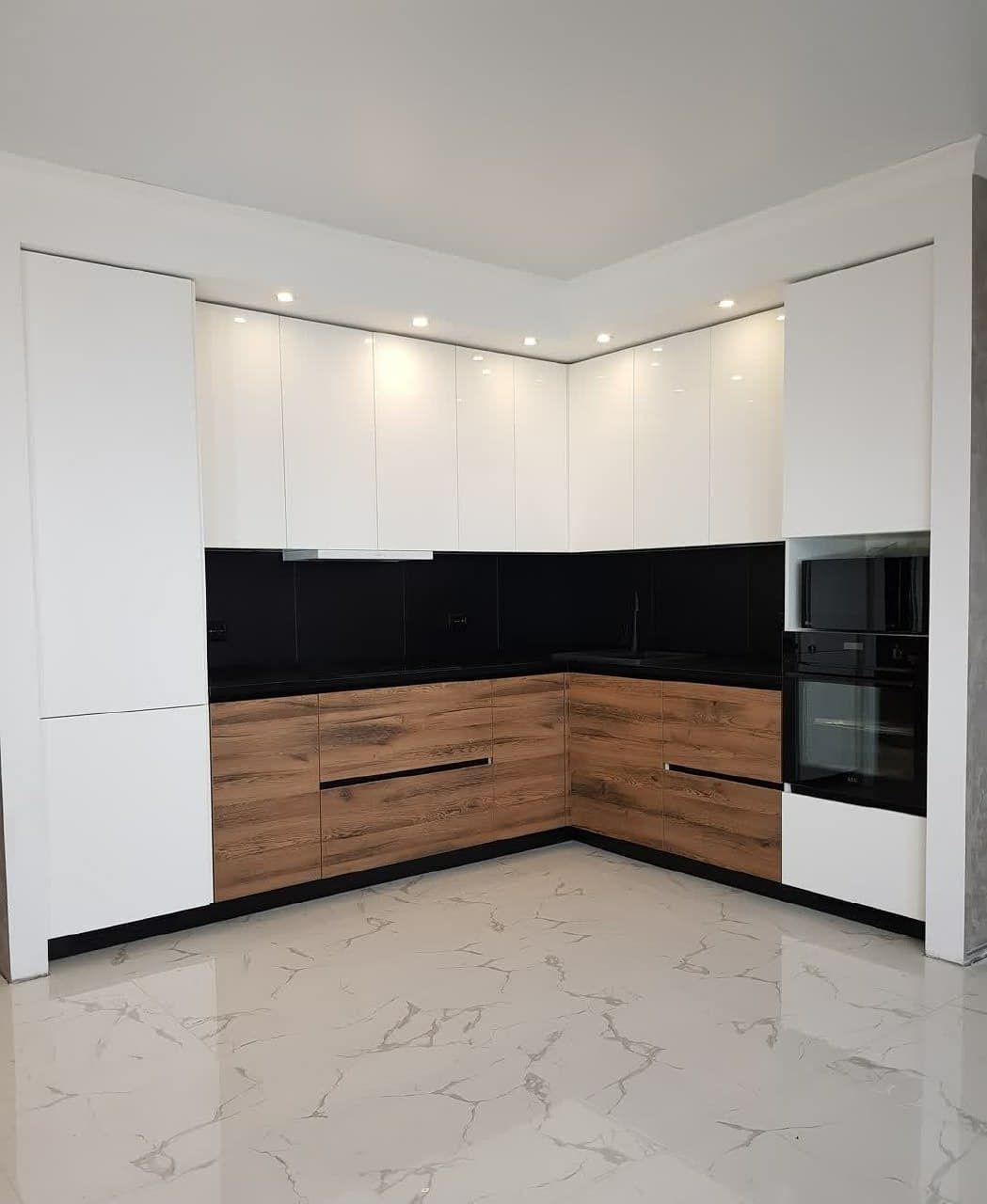 Белый кухонный гарнитур-Кухня МДФ в эмали «Модель 629»-фото1