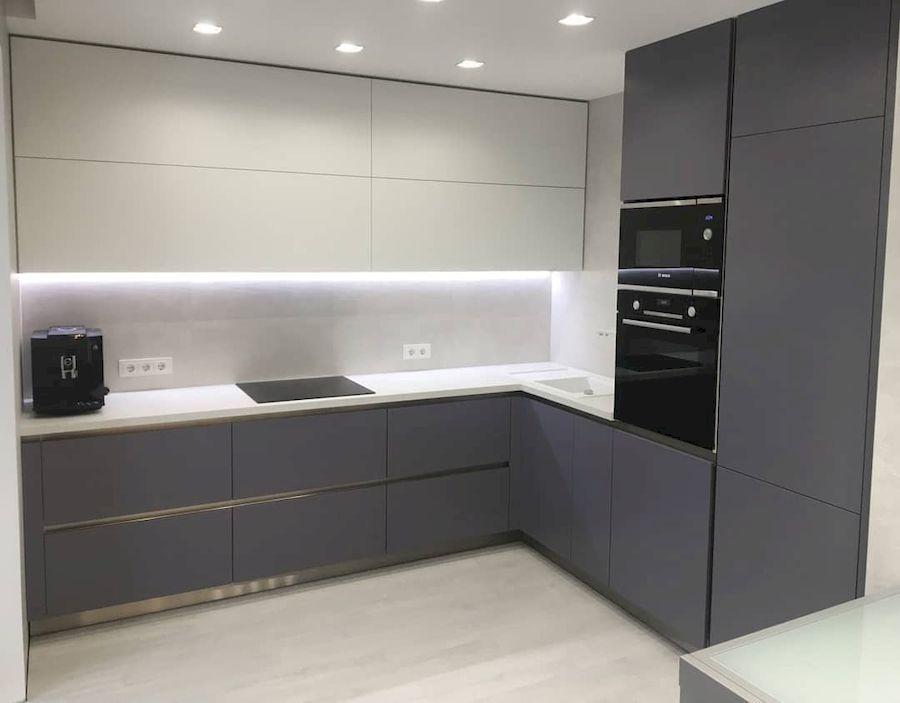 Белый кухонный гарнитур-Кухня МДФ в ПВХ «Модель 648»-фото1